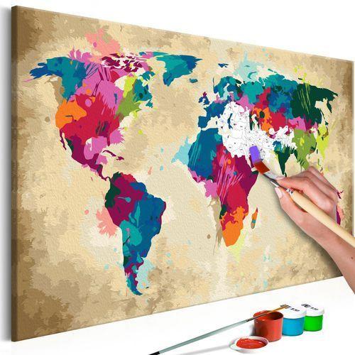 Artgeist Obraz do samodzielnego malowania - mapa świata (kolorowa)