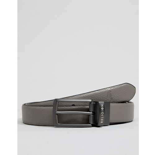 reversible belt with praying skeleton in black / grey - multi marki Religion