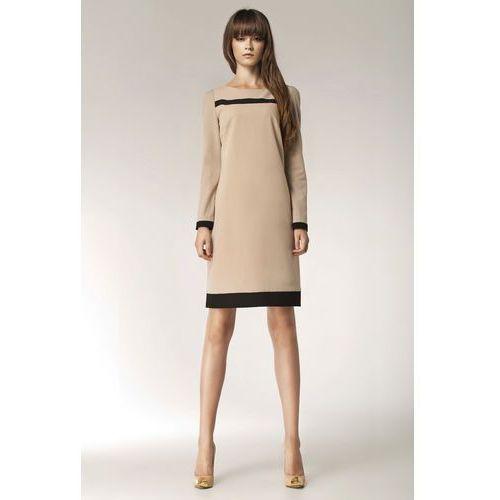 Beżowa Elegancka Sukienka z Długim Rękawem i Czarnymi Panelami, kolor beżowy