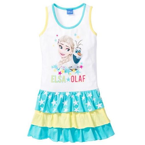 """Sukienka """"Frozen"""" bonprix biały z nadrukiem, kolor wielokolorowy"""
