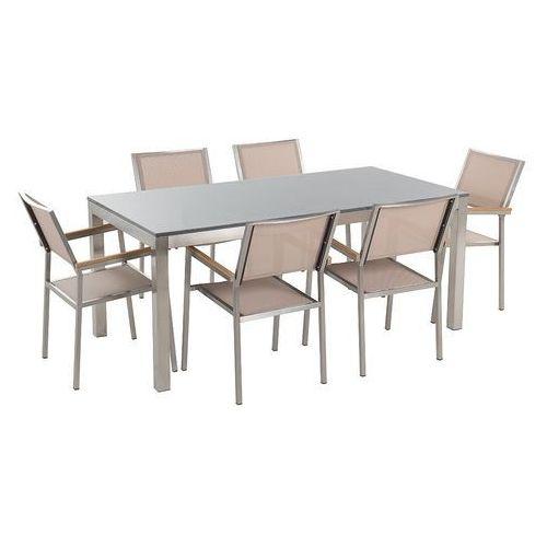 Meble ogrodowe - stół granitowy - cała płyta - 180 cm szary polerowany z 6 beżowymi krzesłami - grosseto marki Beliani