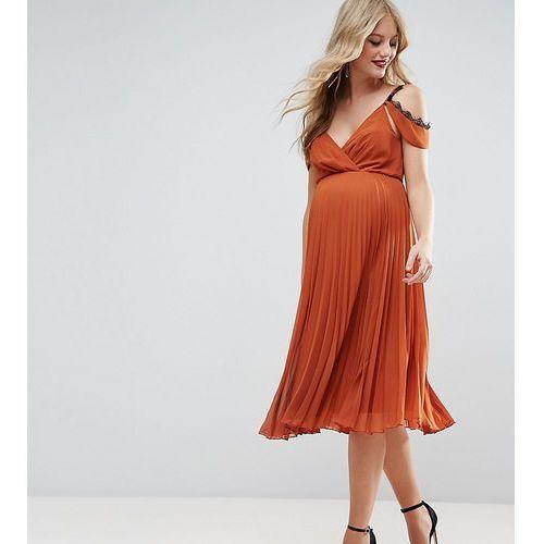 midi skater dress with cold shoulder and lace detail - orange marki Asos maternity