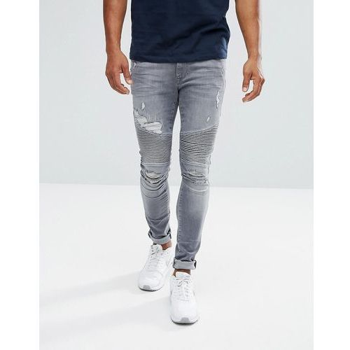 River Island Super Skinny Biker Jeans With Rips In Grey Wash - Grey