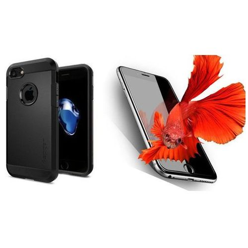 Sgp - spigen / perfect glass Zestaw   spigen sgp tough armor black   obudowa + szkło ochronne perfect glass dla modelu apple iphone 7