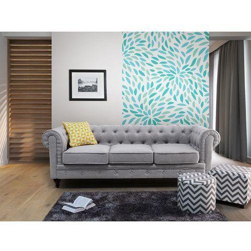 Sofa jasnoszara - wypoczynek - tapicerowana - chesterfield marki Beliani