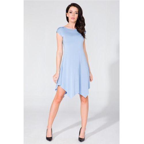 Letnia błękitna asymetryczna sukienka dzianinowa, Tessita, 36-44