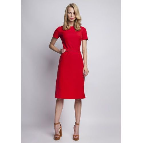 Szykowna Czerwona Sukienka z Krótkim Rękawem i Ozdobnym Paskiem, w 4 rozmiarach