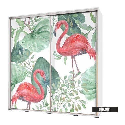 szafa wenecja 205 cm flamingi i monstera marki Selsey