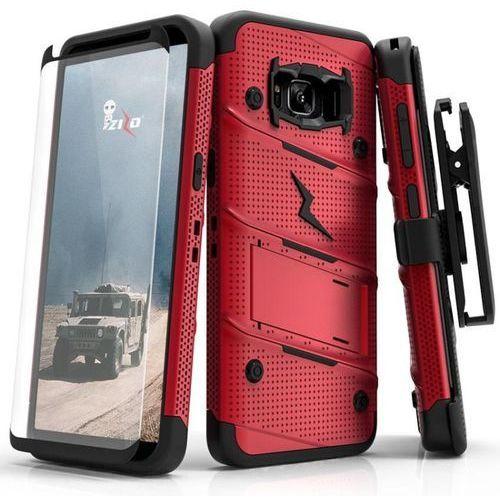 Zizo bolt cover etui pancerne samsung galaxy s8+ plus (red/black) + szkło hartowane na ekran