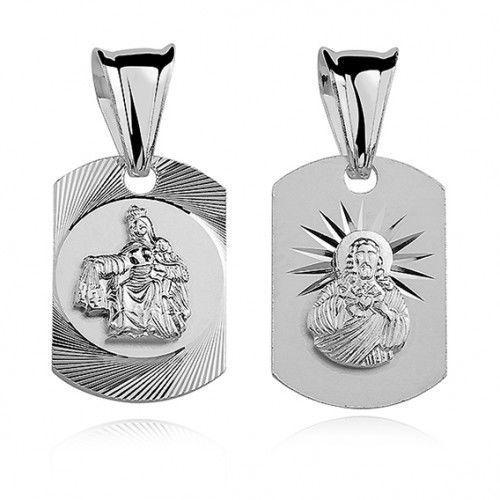 Srebrny medalik z Matką Bożą Szkaplerzną, MD311