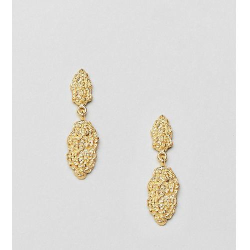 Asos design gold plated sterling silver drop earrings with hammered detail - gold