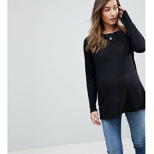 Asos maternity t-shirt with longline sleeve in lightweight jersey - black