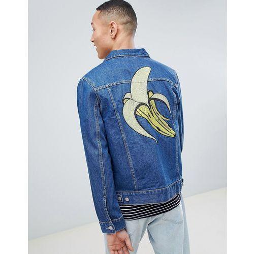 banana embroidered core denim jacket - blue marki Weekday