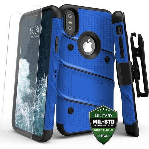 ZIZO BOLT COVER ETUI PANCERNE IPHONE X (BLUE/BLACK) + SZKŁO HARTOWANE NA EKRAN, kolor czarny