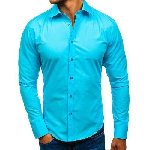 Koszula męska elegancka z długim rękawem jasnoniebieska 1703, Bolf