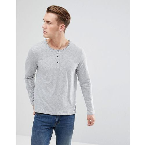 Esprit Long Sleeve T-Shirt With Henley Neck In Grey - Grey, kolor szary