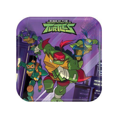 Talerzyki urodzinowe wojownicze żółwie ninja - 18 cm - 8 szt. marki Amscan