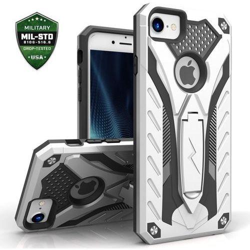 Zizo Static Cover - Pancerne etui iPhone 7 z podstawką (srebrny/czarny)