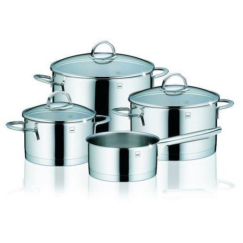 Kela Cailin 10969 4-częściowy zestaw garnków z 3 szklanymi pokrywkami, nadaje się do kuchenek indukcyjnych, wykonane ze stali nierdzewnej, błyszczące, pojemności 1,5/2,0/3,5/6,0 l, kolor szary