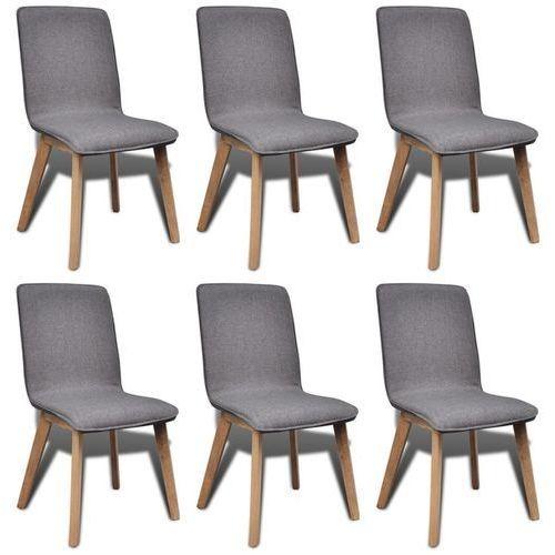 Krzesła jadalniane z dębową ramą, 6 szt, materiał, ciemnoszare