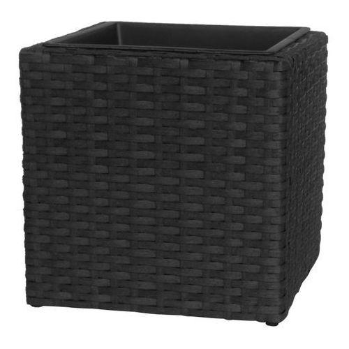 Doniczka technorattan kwadratowa czarna 38x38x38cm
