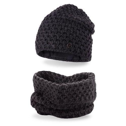 Pamami Komplet , czapka i komin - ciemnoszary - ciemnoszary