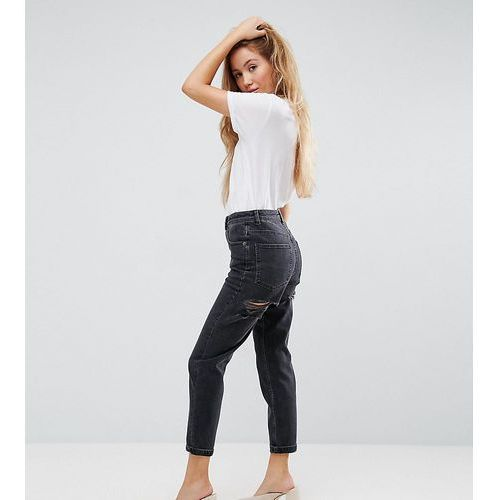 Asos petite  farleigh high waist slim mom jeans in washed black with bum rips - black