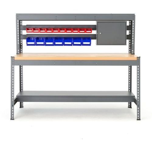 Aj produkty Stół warsztatowy combo, z listwą na pojemniki i oświetleniem, dąb
