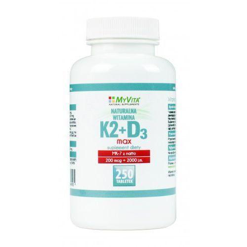 Witamina K2 MK-7 K2MK7 MAX 200mcg + D3 2000IU 250 tabletek MyVita