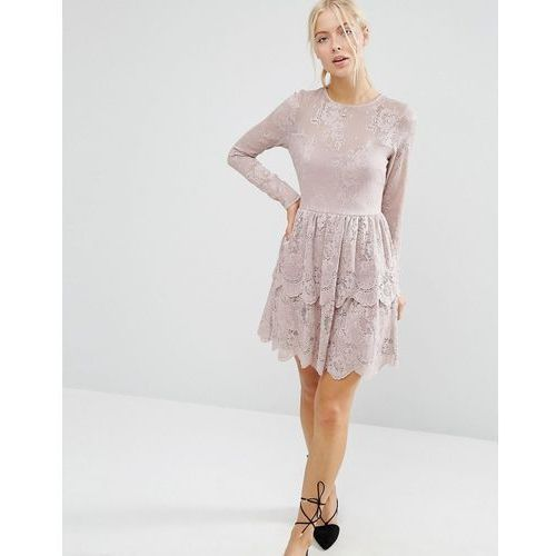 ASOS Mini Skater Dress with Lace Tiered Hem - Beige, kolor beżowy
