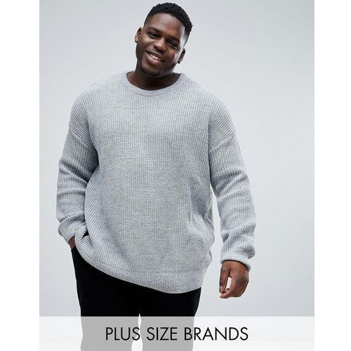 plus oversized jumper with fisherman knit in grey - grey, River island
