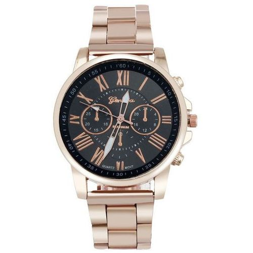 Zegarek GENEVA bransoleta złoty czarny - BLACK