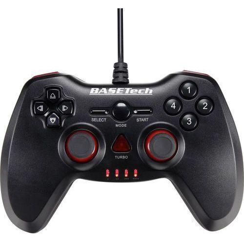 Gamepad pc, playstation® 3  usb vibration 1388741, usb, rodzaj transmisji danych: przewodowa, czarny, czerwony marki Basetech