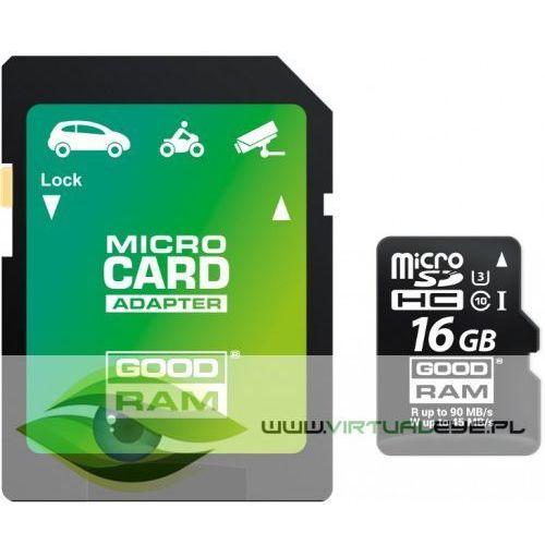 Karta pamięci micro sd goodram uhs1 cl10 u3 16gb + adapter marki Virtualeye