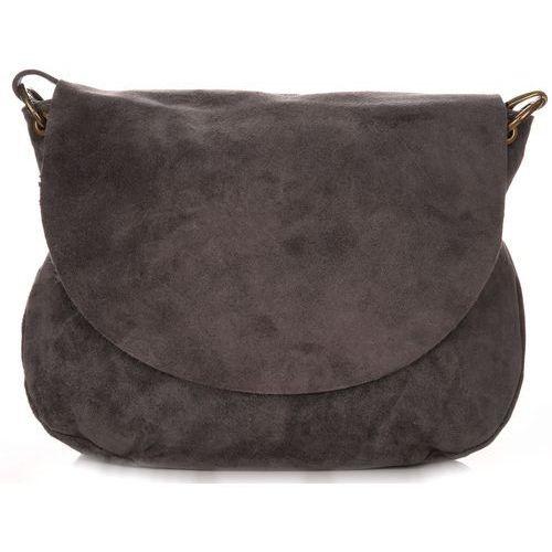 Uniwersalna Torebka Skórzana Listonoszka Genuine Leather Szara (kolory), kolor szary