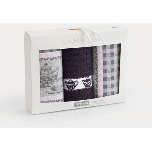 Komplet ścierek kuchennych 2+1 wzór podwieczorek bakłażan marki Zwoltex