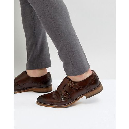 monk shoes in brown leather with brogue detail - brown marki Asos