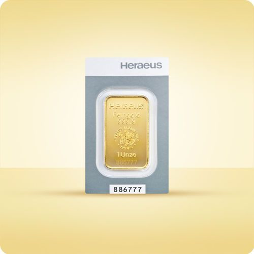 1 uncja sztabka złota kinebar - 15 dni roboczych marki Heraeus, münze Österreich