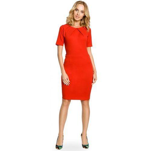 Klasyczna ołówkowa sukienka z dzianiny MOE013 czerwona