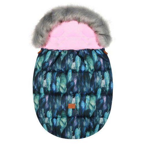 """Śpiworek do wózka z futerkiem do wózka spacerowego zimowy """"Eskimo Pink Feather"""", 25E2-4423B"""