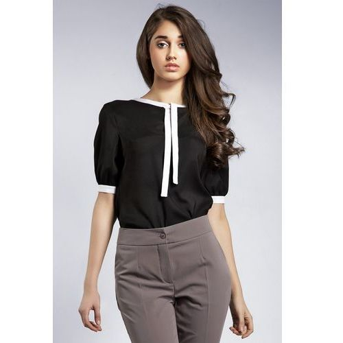 Subtelna bluzeczka z wstążką - czarny - B21, w 4 rozmiarach