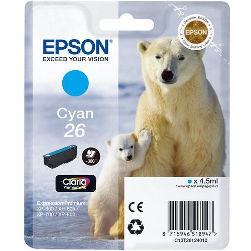 EPSON Tinte Singlepack Cyan 26 Claria Premium