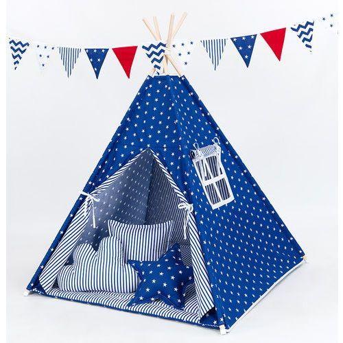Mamo-tato namiot tipi z matą i poduszkami gwiazdki białe na granacie / pasy granatowe