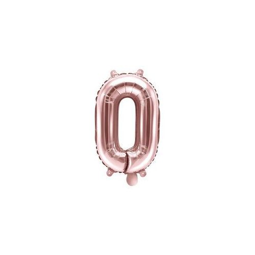 Party deco Balon foliowy cyfra 0 złoty róż - 35 cm