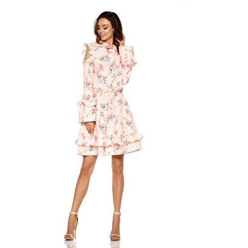 Różowa Wzorzysta Sukienka w Kwiaty z Falbankami Typu Cold Shoulder, kolor różowy