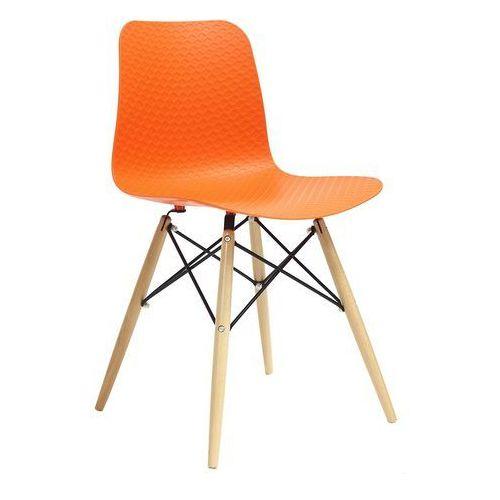 Krzesło drewniane krado dsw premium pomarańczowe - polipropylen, podstawa bukowa marki King home