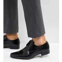 Asos wide fit derby shoes in black leather - black