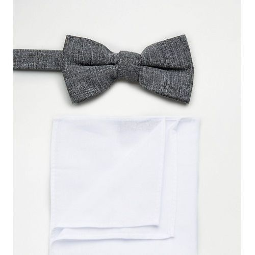 grey bow tie and pocket square in white - grey marki New look