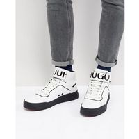 Hugo reverse logo hi top trainers in white - white, Boss