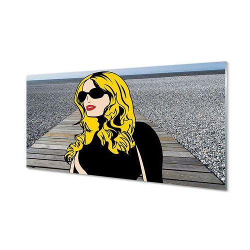 Obrazy akrylowe kobieta czarne okulary czerwone usta marki Tulup.pl